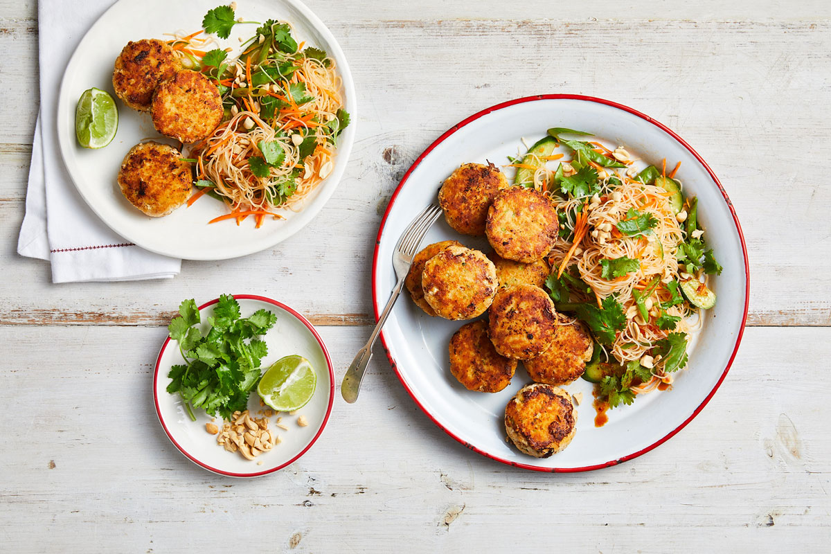 Vietnamese fish cakes with vermicelli salad
