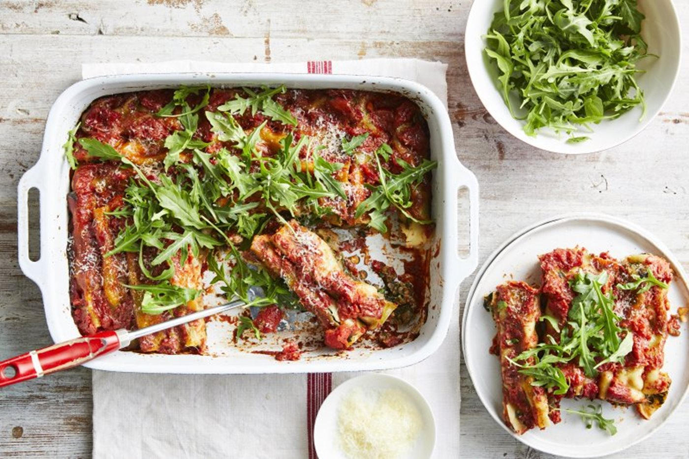 Spinach, lentil and ricotta cannelloni