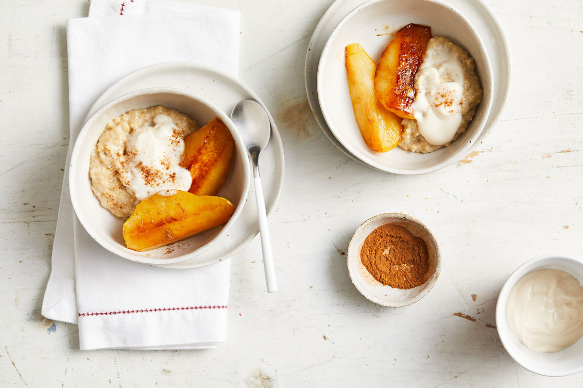 Creamed quinoa with maple-glazed pears
