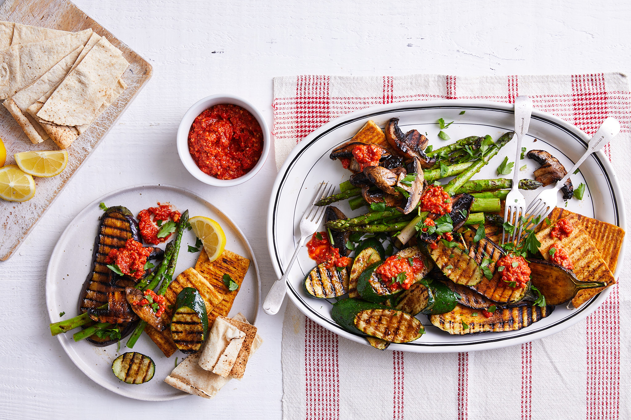 Chargrilled tofu and vegetables with romesco