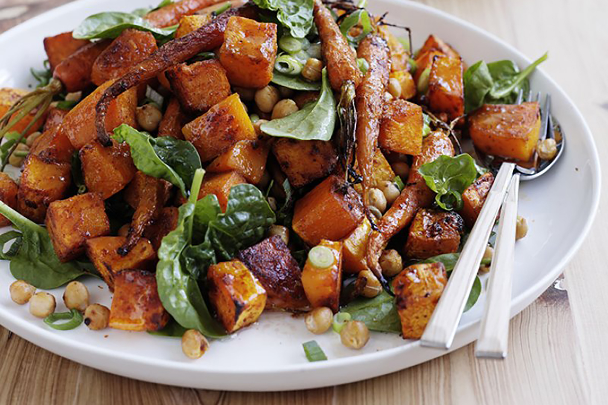 Roast pumpkin, carrot and chickpea salad