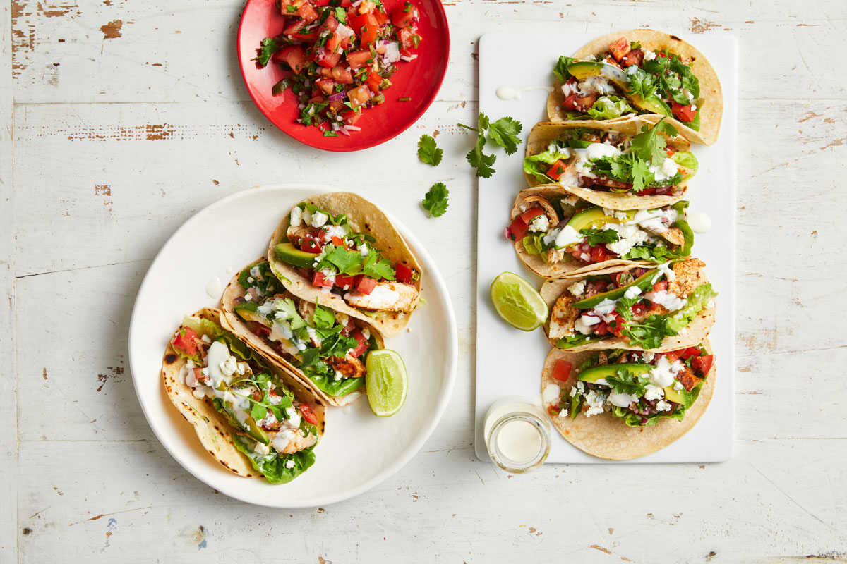 Fish tacos with tomato & jalapeno salsa