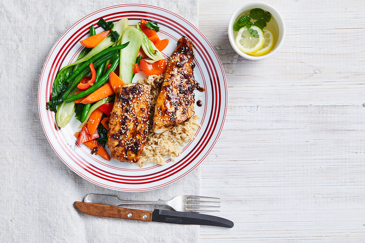 Soy-glazed fish with stir-fry vegetables