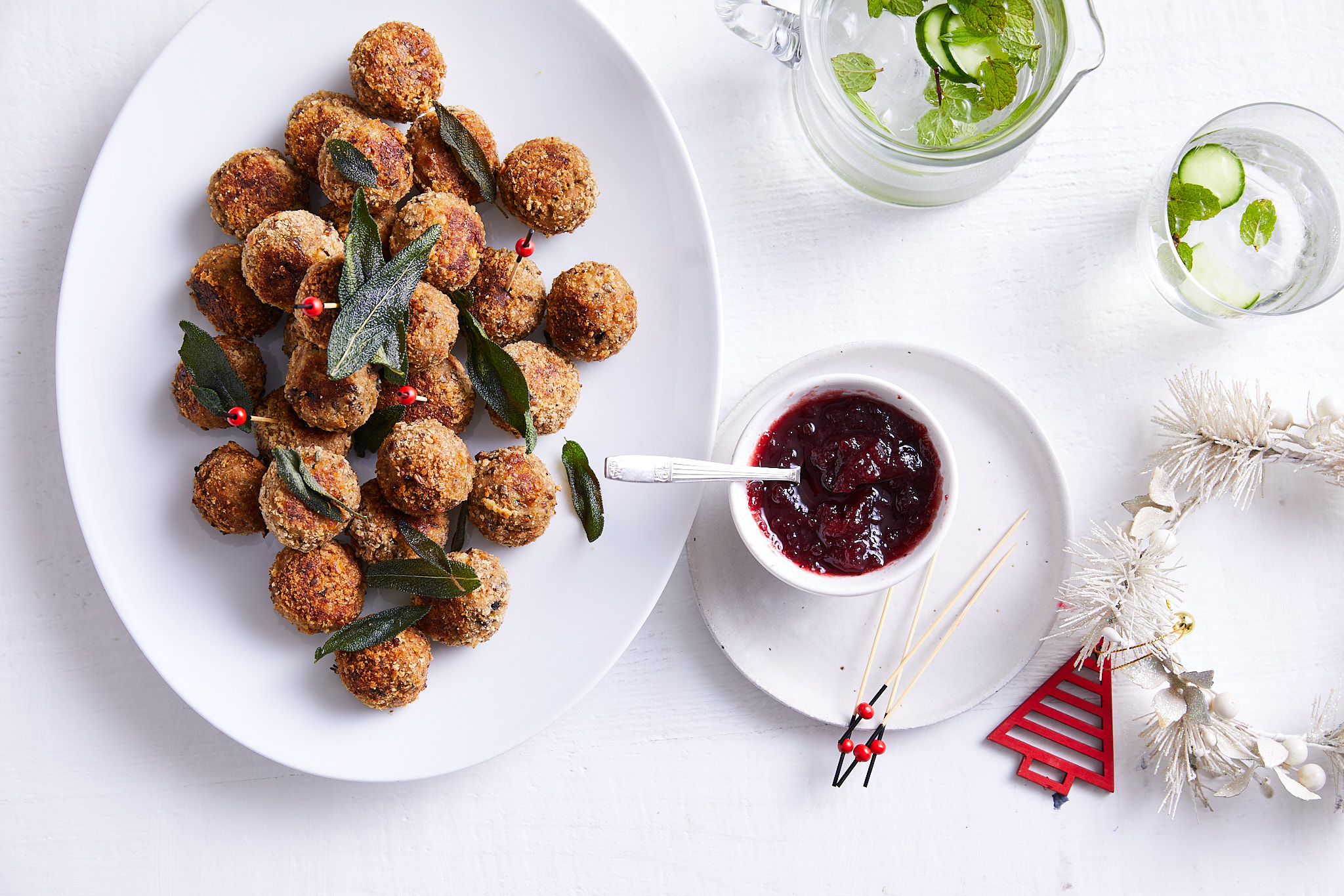 Turkey and sage meatballs with cranberry sauce