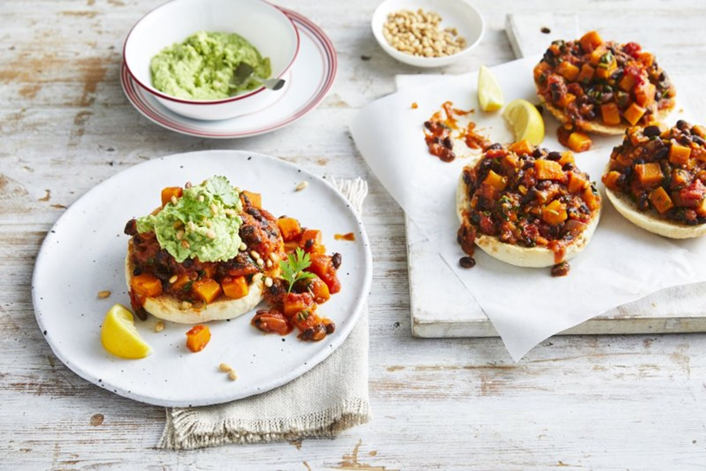 Mexican pumpkin and bean sloppy joes