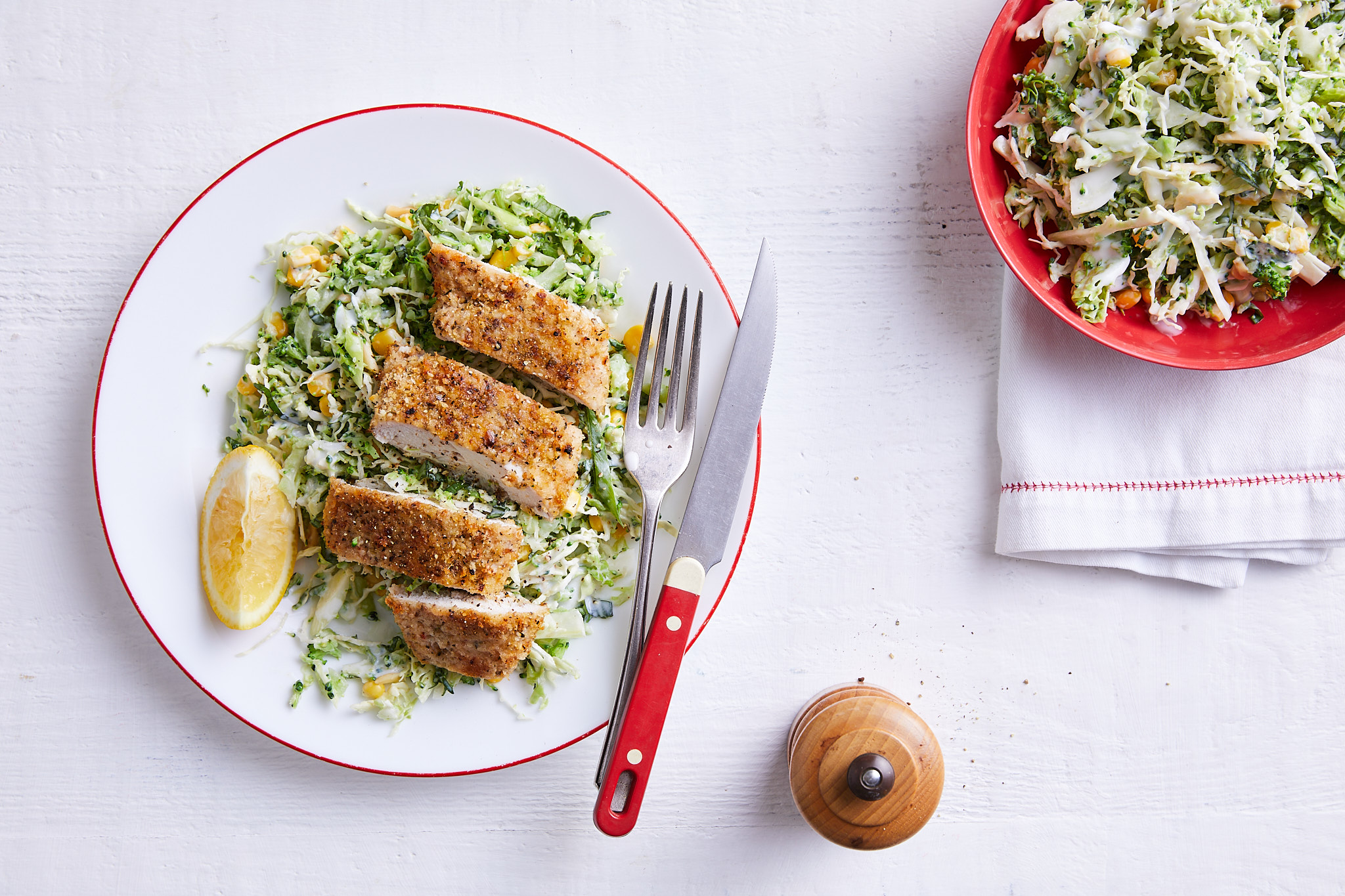 Chicken schnitzel with broccoli slaw