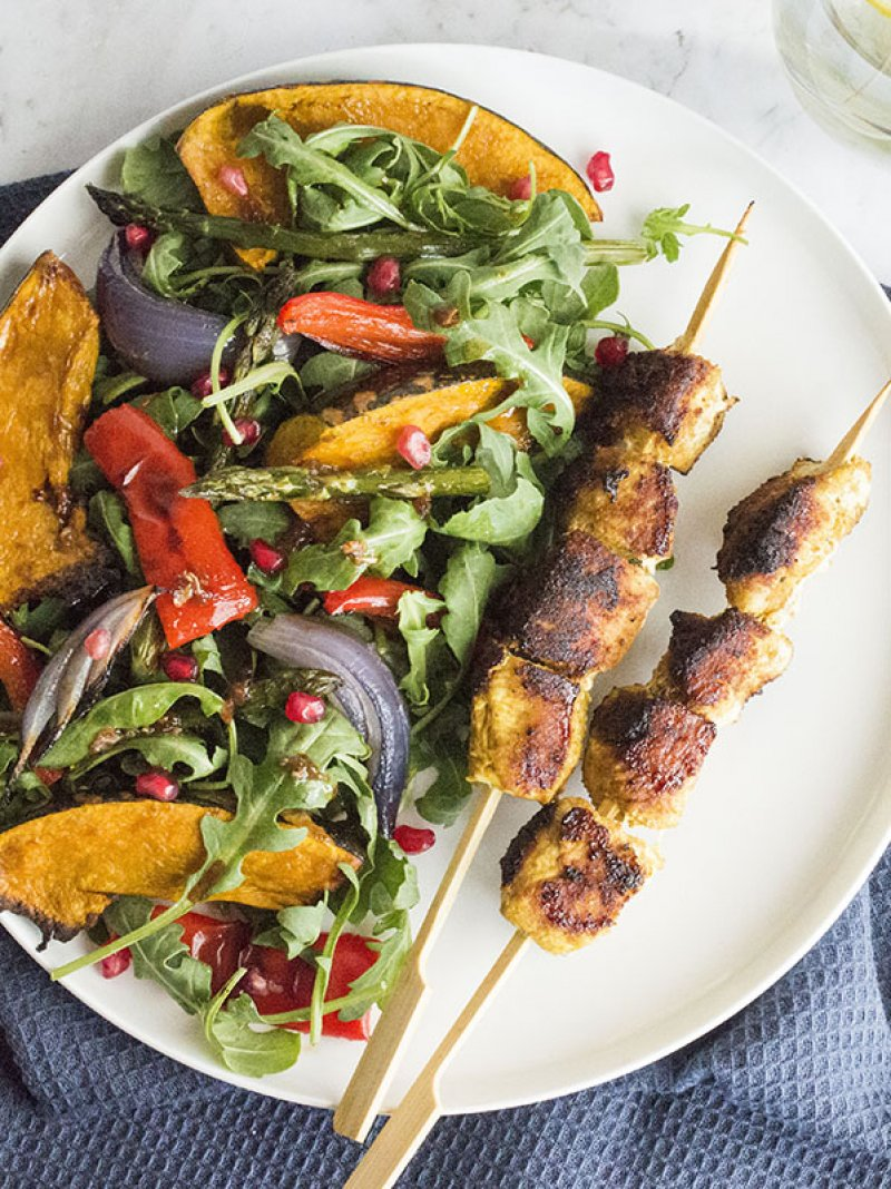 Moroccan Spiced Chicken Skewers with a Roasted Vegetable Salad