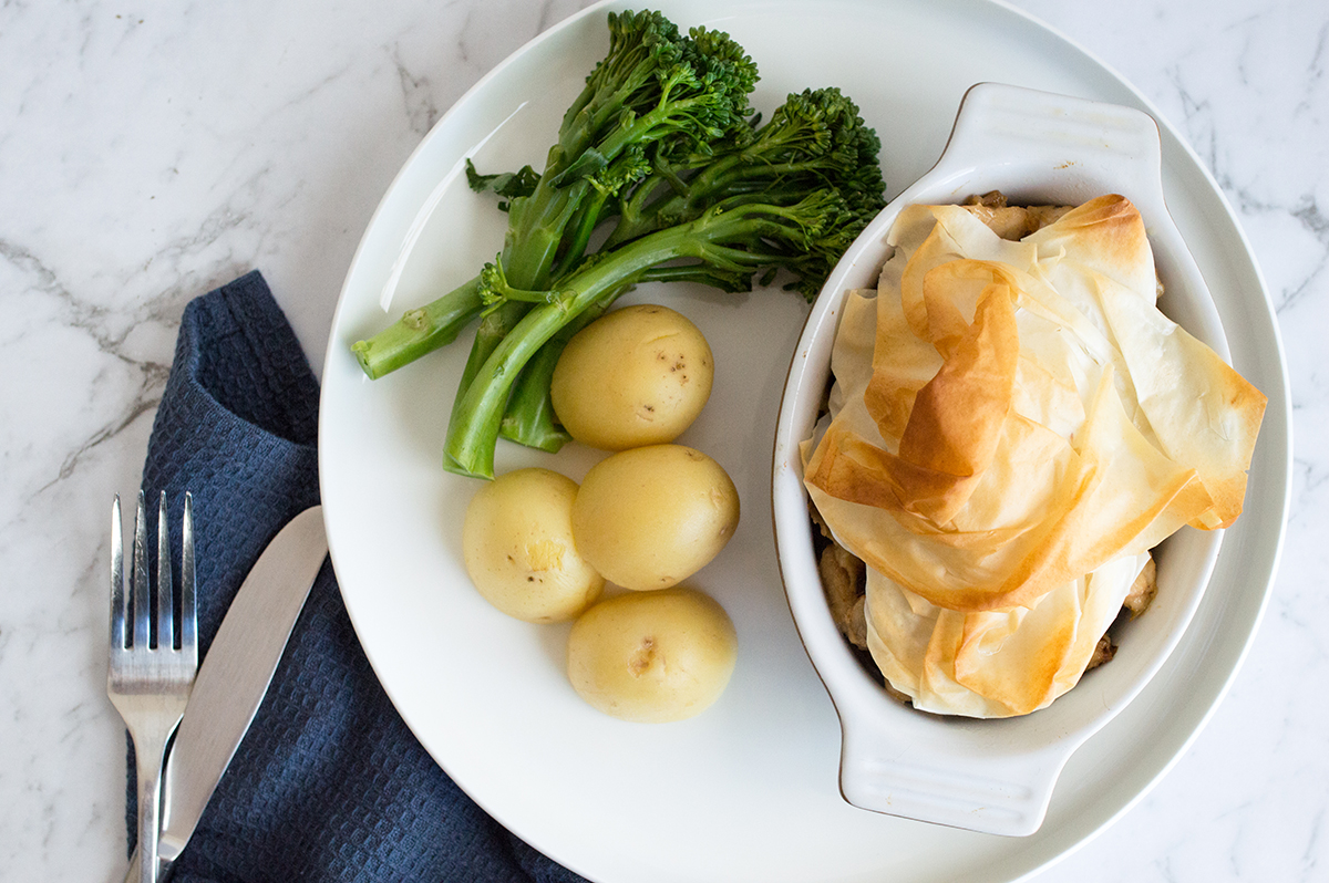 Chicken & mushroom pot pies with steamed greens and baby potatoes