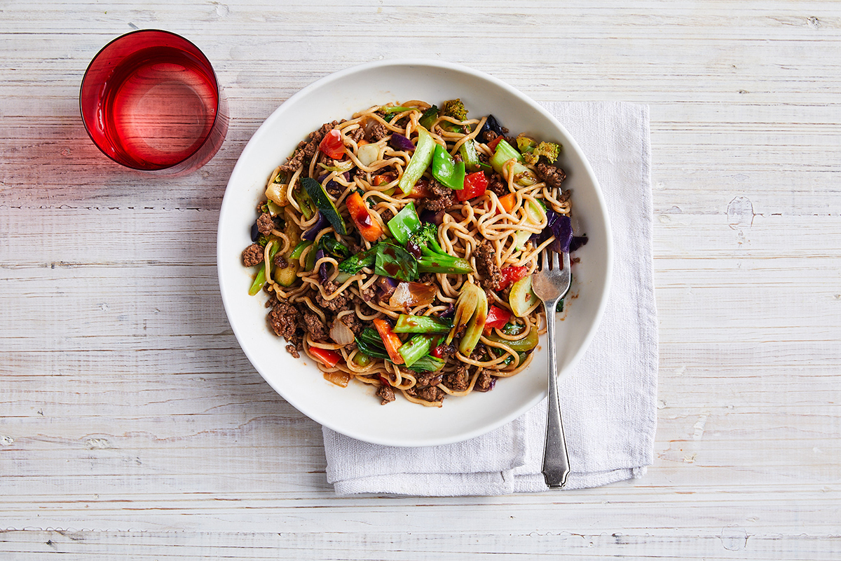 Speedy beef and noodle stir-fry