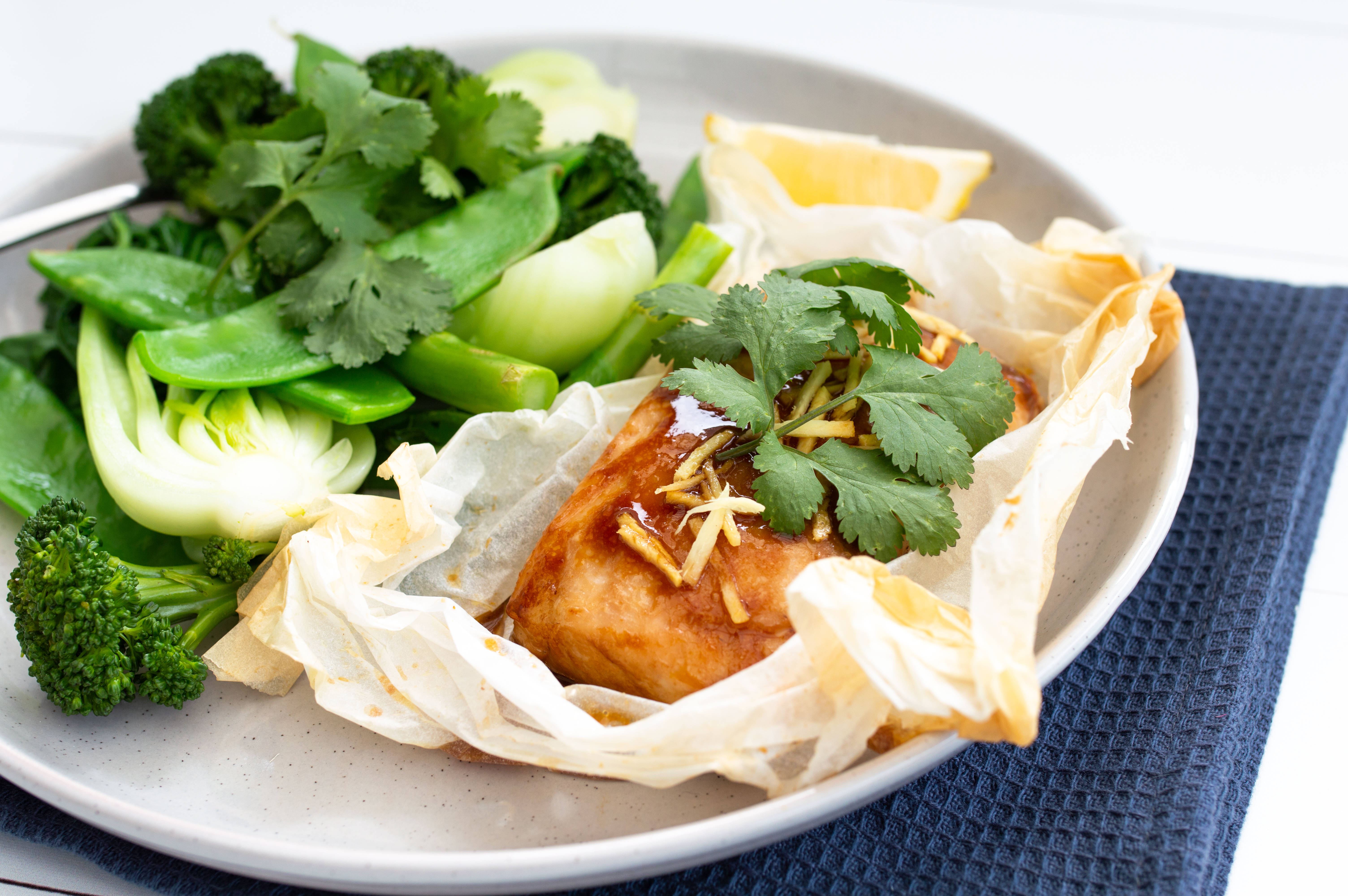 Steamed barramundi parcels with Asian greens