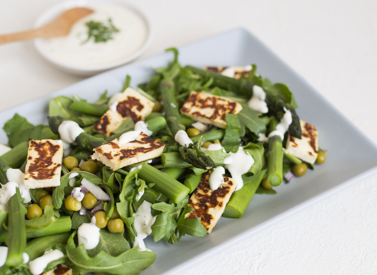 Grilled haloumi and crunchy green salad