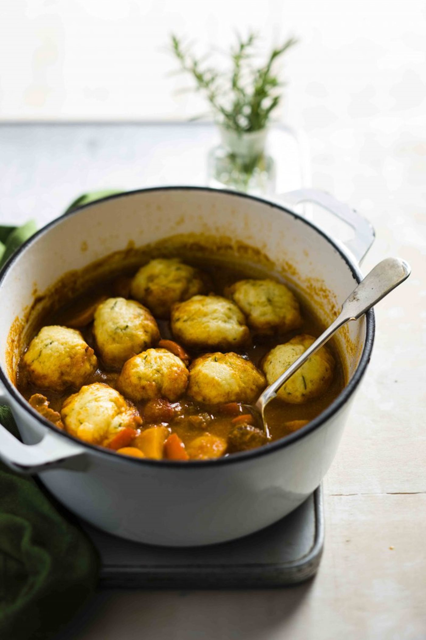 Goulash with herb dumplings