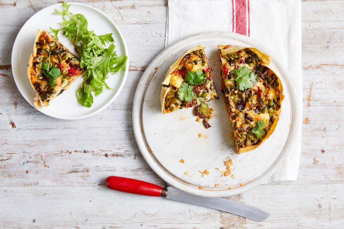 Cheesy Mexican vegetable pie