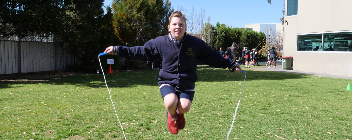 Harry puts his whole heart into Jump Rope program