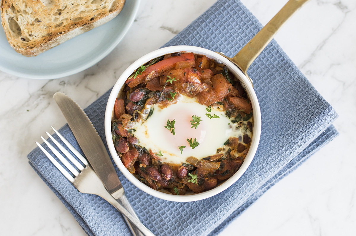 Baked eggs with grainy toast