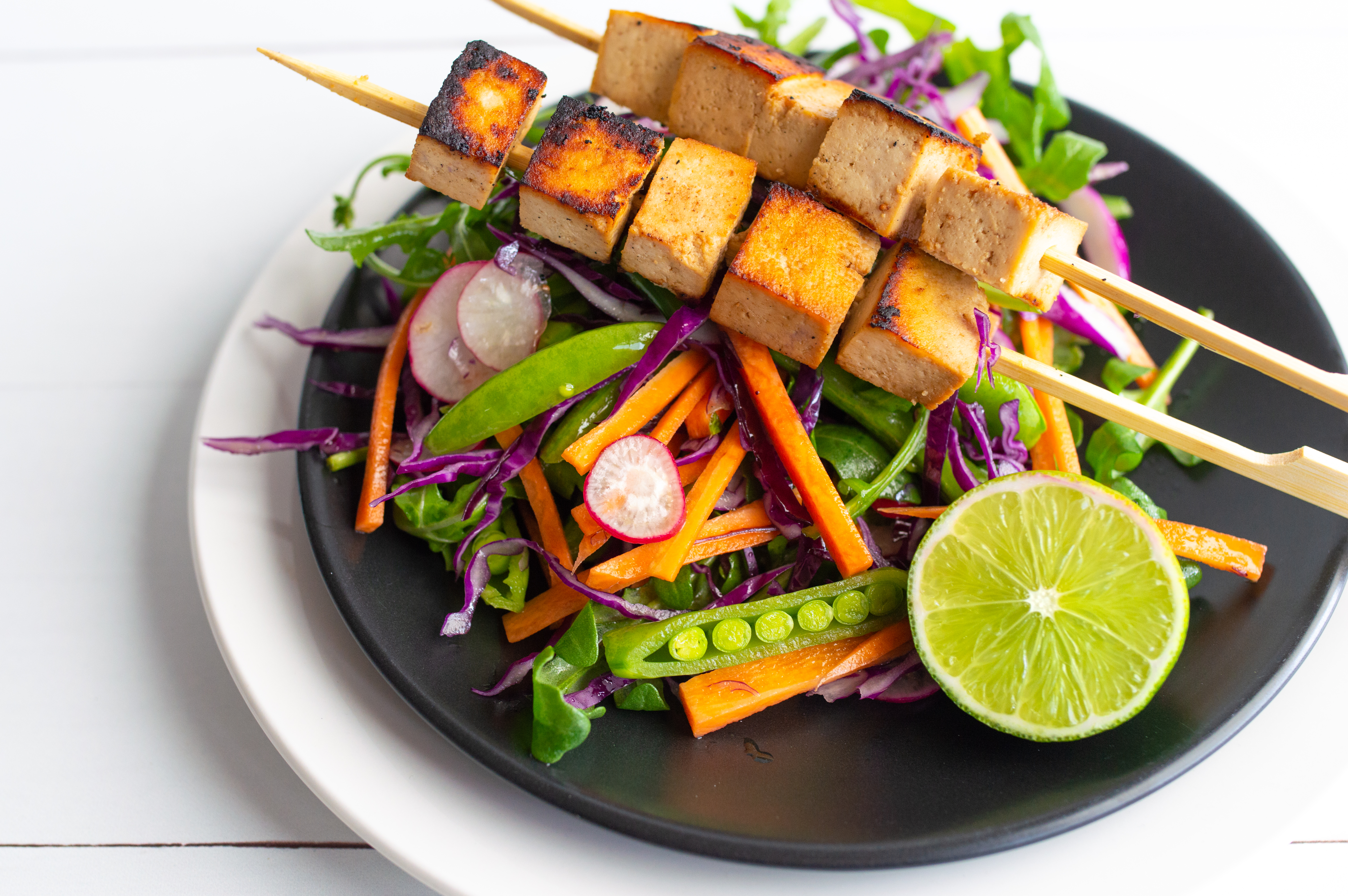 Sticky tofu skewers with Japanese slaw