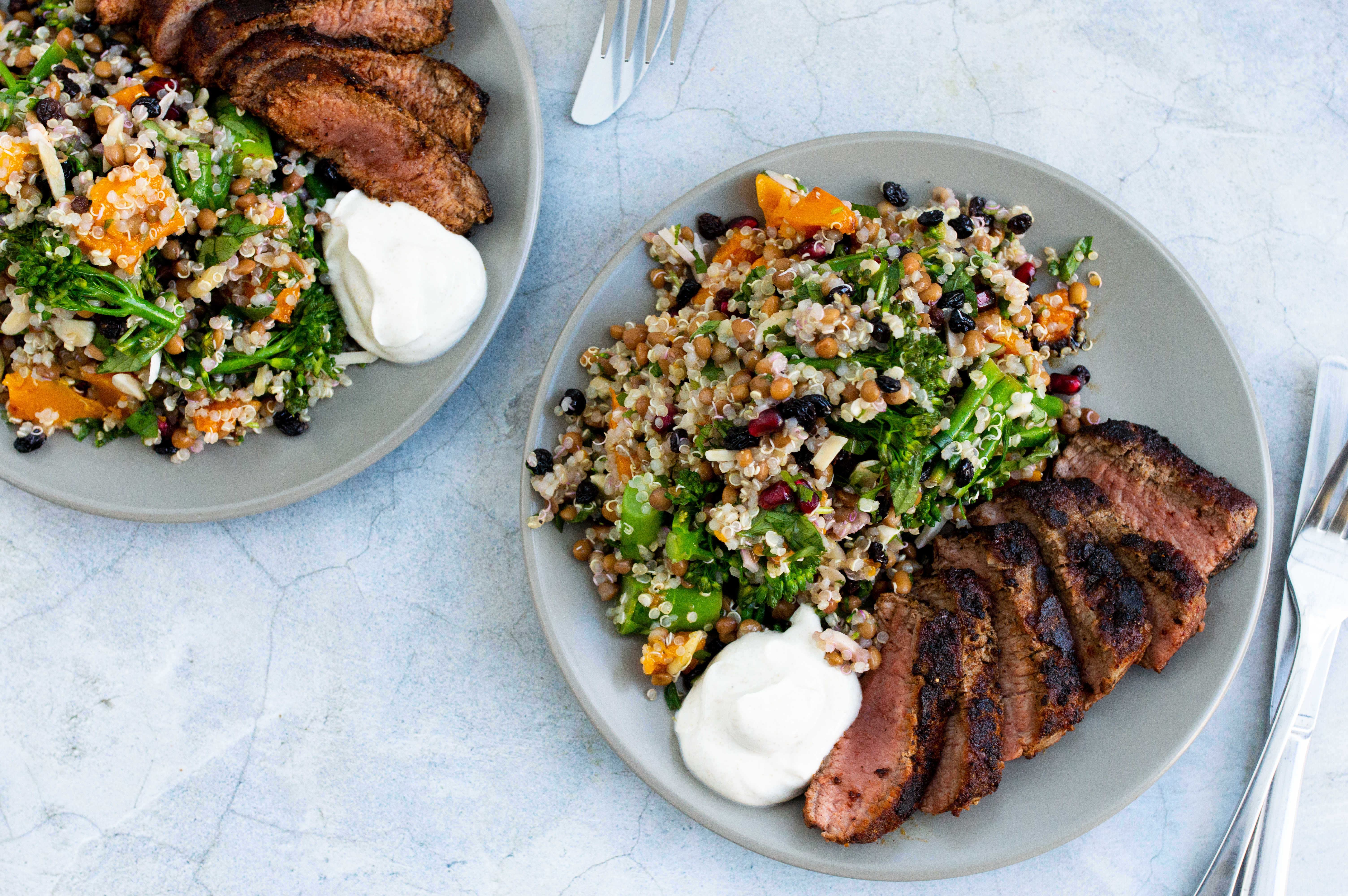 Middle Eastern style lamb with ancient grain salad