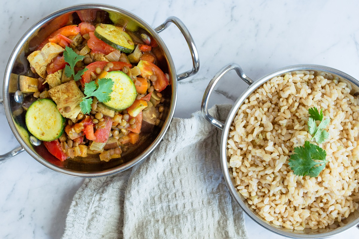 Indian chicken and lentil tray bake
