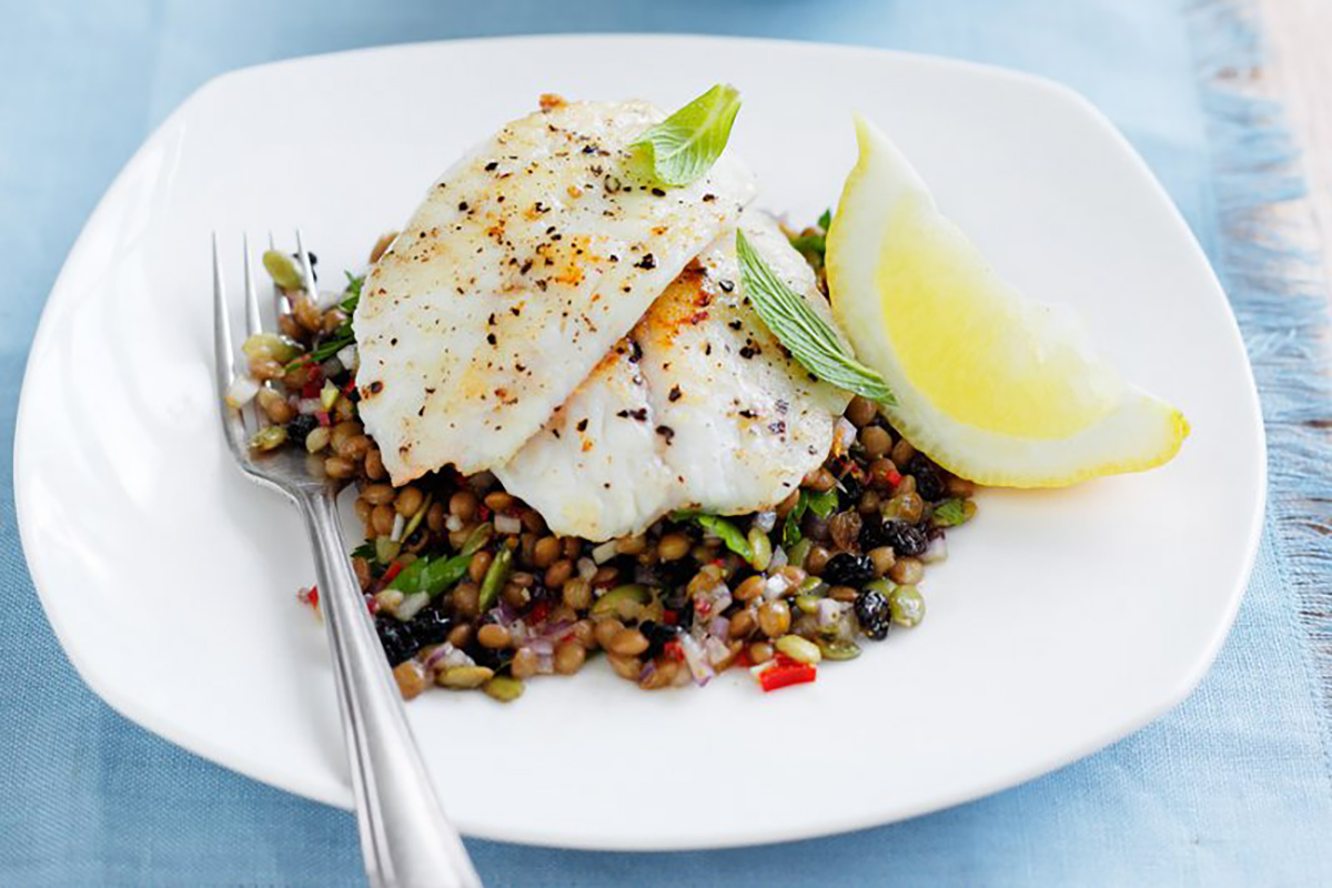 Fish with Moroccan lentil salad