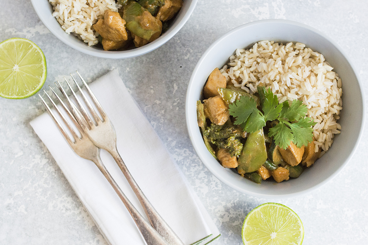 Chicken and vegetable red curry with brown rice