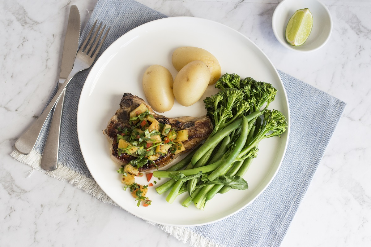 Grilled pork cutlet with grilled pineapple salsa
