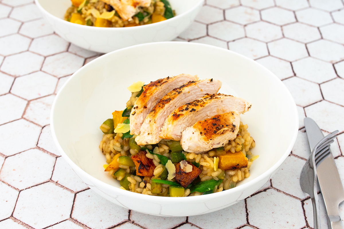 Roasted pumpkin, zucchini, asparagus & spinach risotto served with a grilled chicken breast