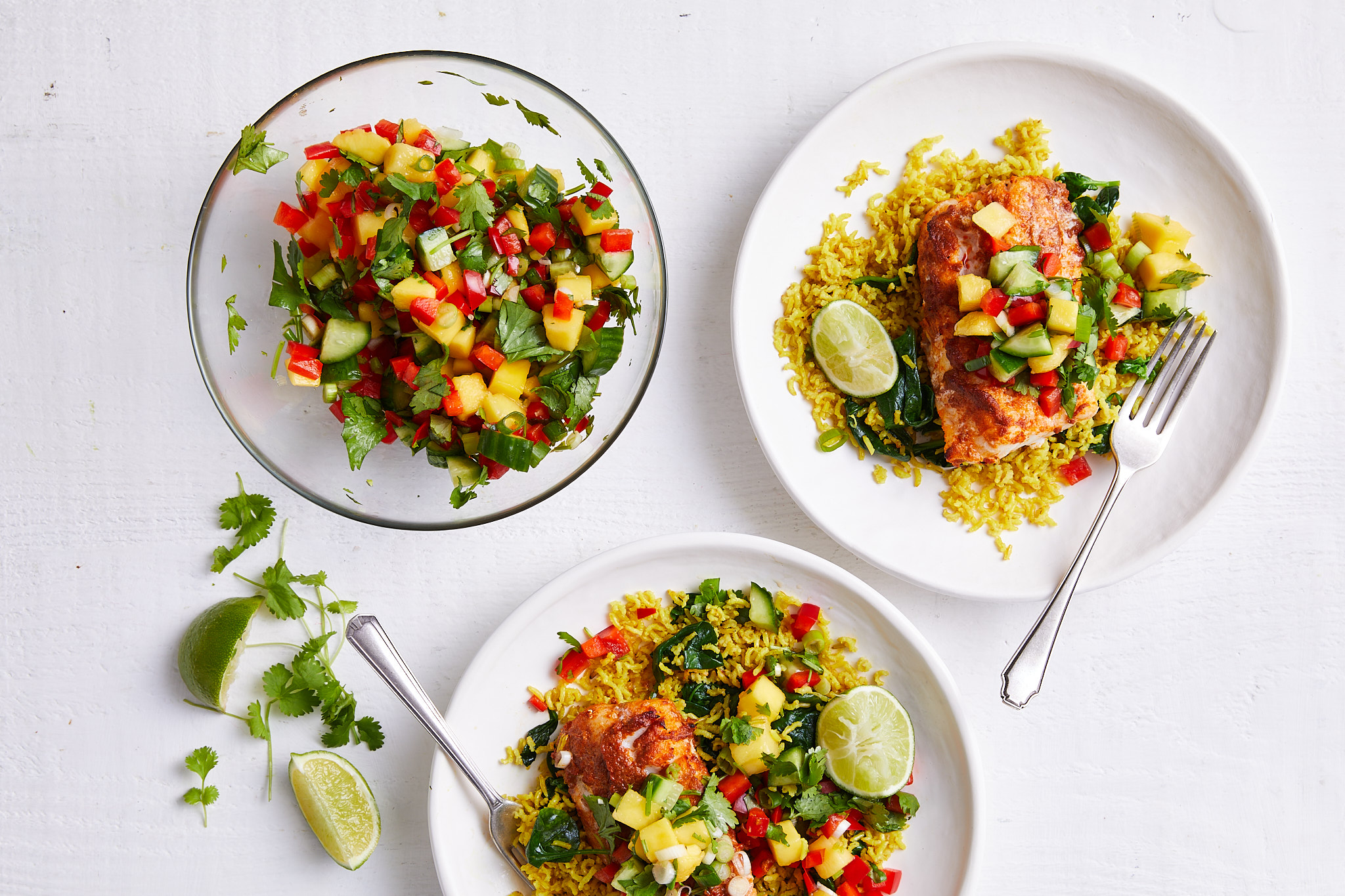 Thai-spiced fish with mango coriander sambal