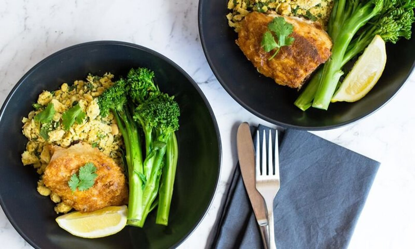 Spiced fish with chickpea mash and greens