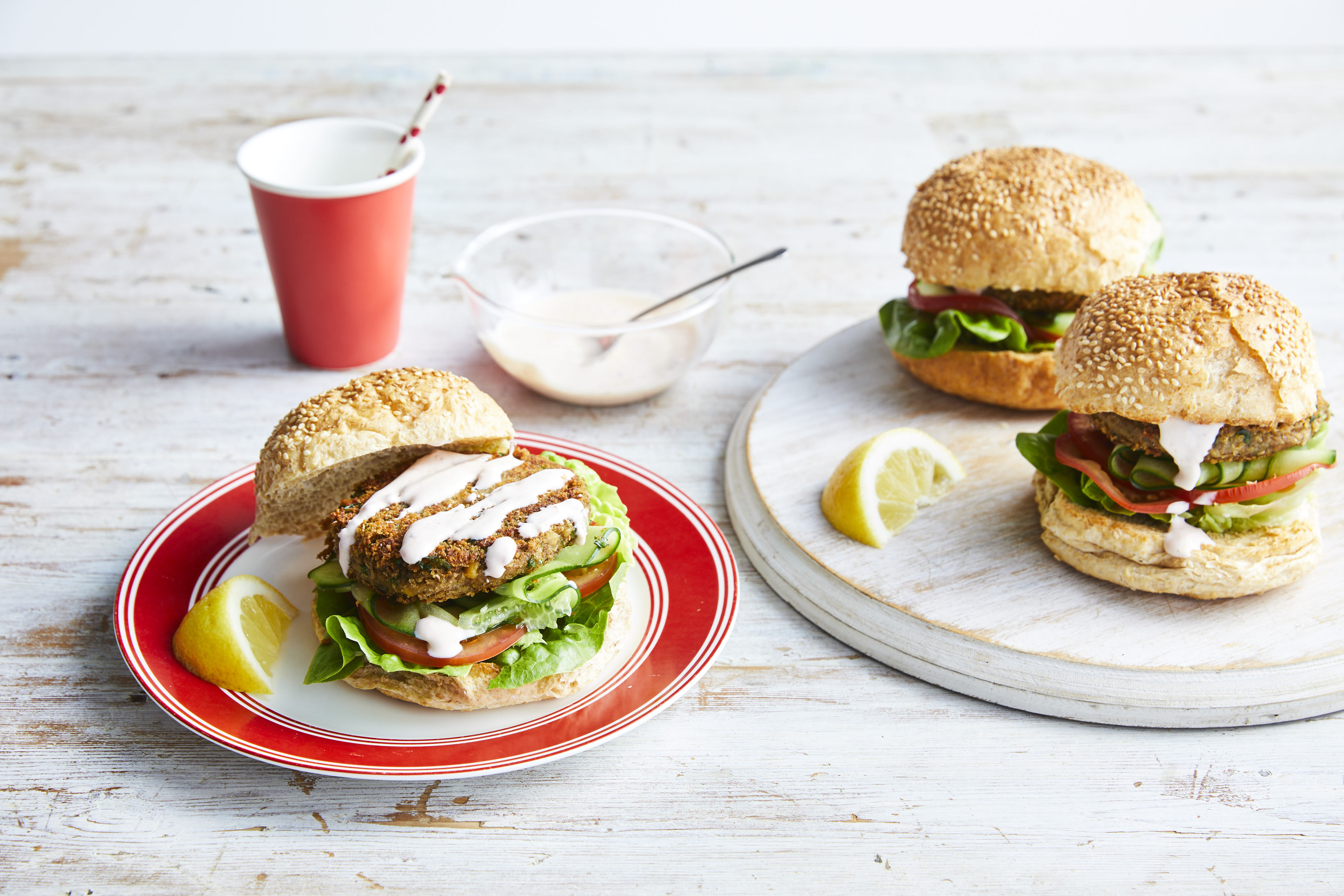 Moroccan veggie burgers with lemon chilli yoghurt